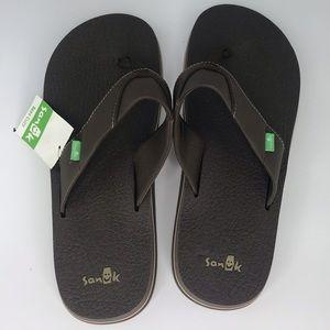 Sanuk Brown Summer Flip Flop Sandals Size 11